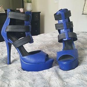 Cobalt blue with black straps  heels size 8